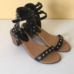 Black studded block heel sandals size 9